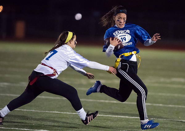 11/20/18 Wesley Bunnell | Staff Plainville Seniors vs Juniors in powder puff football on Tuesday night at Plainville High School. Senior Evelyn Rodriguez (20).