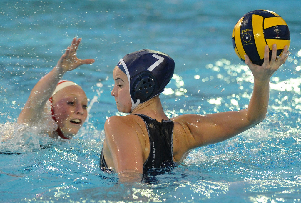 . Crescenta Valley\'s Breanna Lawton (#7) makes a goal as they play Redlands East Valleyin the Southern Section Div. V semifinals girls water polo game at Whittier College\'s Lillian Slade Aquatics Center on Wednesday February 20, 2013. Crescenta Valley beat Redlands East Valley 14-4. (Staff photo by Keith Durflinger)