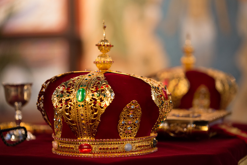 Orthodox Wedding Crowns, used during the marriage service for the bride and groom. Christ the Savior OCA Church, Chicago.