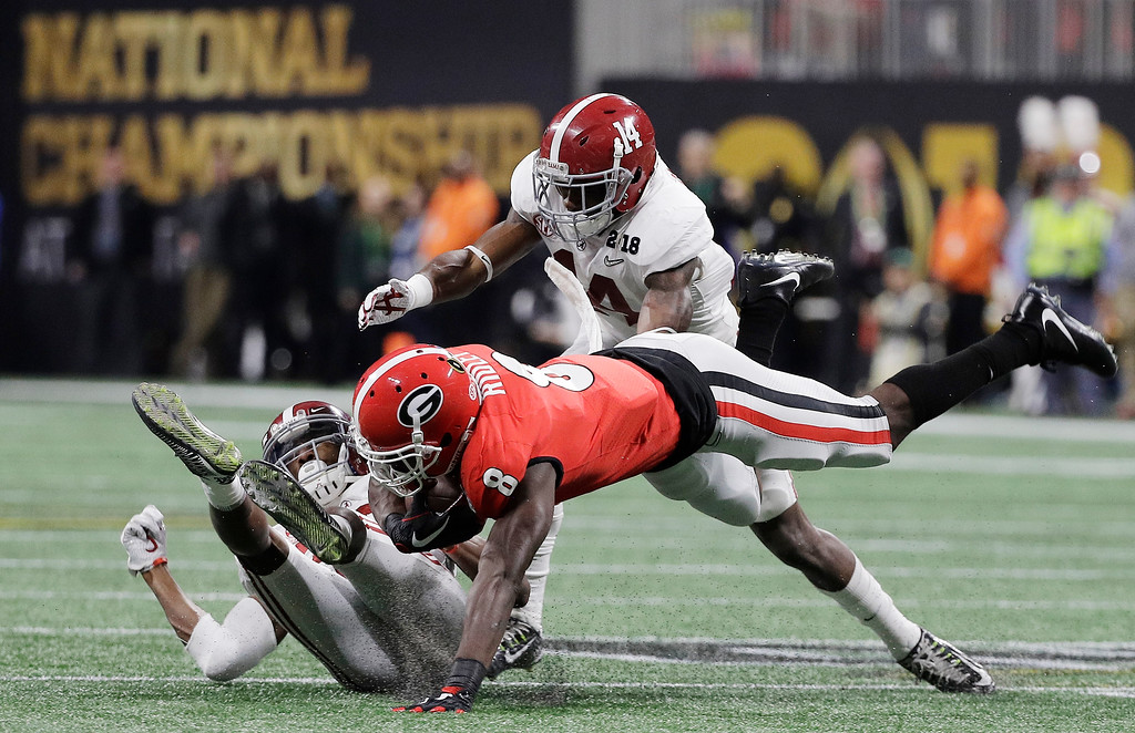 . Georgia wide receiver Riley Ridley catches a pass during the first half of the NCAA college football playoff championship game against Alabama Monday, Jan. 8, 2018, in Atlanta. (AP Photo/David J. Phillip)