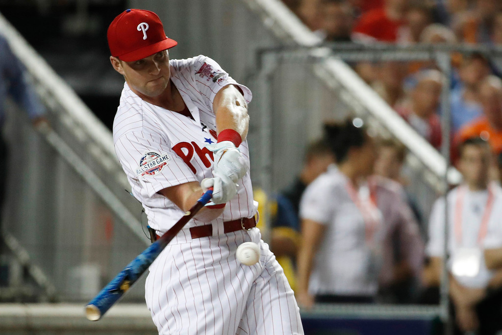 . Philadelphia Phillies Rhys Hoskins hits during the MLB Home Run Derby, at Nationals Park, Monday, July 16, 2018 in Washington. The 89th MLB baseball All-Star Game will be played Tuesday. (AP Photo/Alex Brandon)