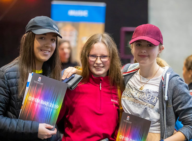 """22/11/2019. FREE TO USE IMAGE. Pictured at Waterford Institute of Technology (WIT) Open Day. Pictured are Aoife Whelan, Deirdre Walsh and Amber Lawlor from Our lady of Lourdes, New Ross. Picture: Patrick Browne  Two open days taking place this week for school leavers and adult learners at WIT Arena  Families of south east Leaving Cert students wishing to get as much course and college-related research done as early as possible in sixth year can do so by attending the Waterford Institute of Technology (WIT) Saturday Open Day, 9am-2pm on 23 November 2019. The traditional schools' open day will run as usual on Friday, 22 November with a focus on information for secondary school students, students in further education colleges, and other CAO applicants, including mature students.  The Saturday Open Day – isn't just about courses for school leavers – it will have information available on the courses available across WIT's schools of Lifelong Learning, Humanities, Engineering, Science & Computing, Health Sciences, Business.  Adults interested in upskilling, or re-skilling can find out about Springboard courses, traditional evening courses as well as part-time and postgrad courses which are offered. WIT also runs specialist programmes for education, science, engineering and other professionals. The number of students studying WIT's part-time and online courses increased to 1650 in 2018, a 28% increase on 2017.  WIT Registrar Dr Derek O'Byrne says: """"A trend we are seeing at WIT Open Days is that students who may have enjoyed the Schools Open day with their friends and school groups, will return the following day with their parents or guardians.""""  Students whose schools are attending are encouraged to join their school group on the Friday. As school students are fully catered for at the Schools' Open Day on Friday, there will not be the same breadth of school leaver focused talks and events at the open day on Saturday. However, says Dr O'Byrne it is usefu"""