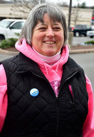 4/12/2019 Mike Orazzi | Staff Striking Stop & Shop worker Rose Sperduti at the grocery store on Route 6 in Bristol on Friday.