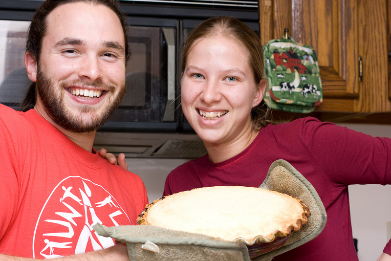 Abby and Nathan with some homemade cheescake.