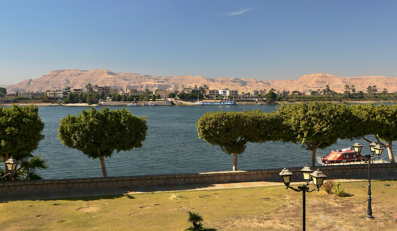 View from the East Bank of Luxor looking over to the Valley of the Kings on the West Bank of the Nile River