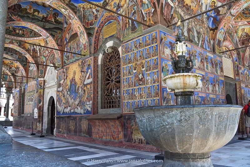 Rila Monaster, outer corridor with frescoes