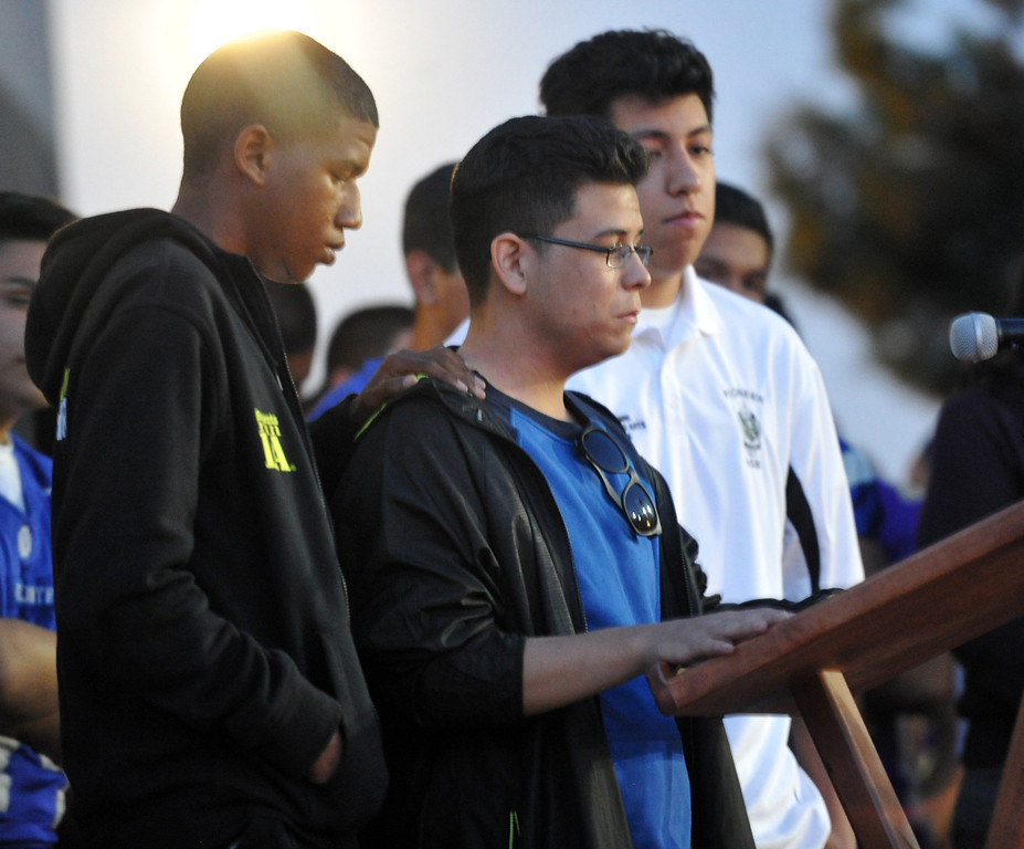 . Three students who were on the bus when it crashed, share their story to family, students and members of the community gather in memory of Adrian Castro, 19, at El Monte High School Monday evening April 14, 2014. Castro was one of nine students killed in the bus crash in Orland, Calif. (Staff Photo by Keith Durflinger/San Gabriel Valley Tribune)