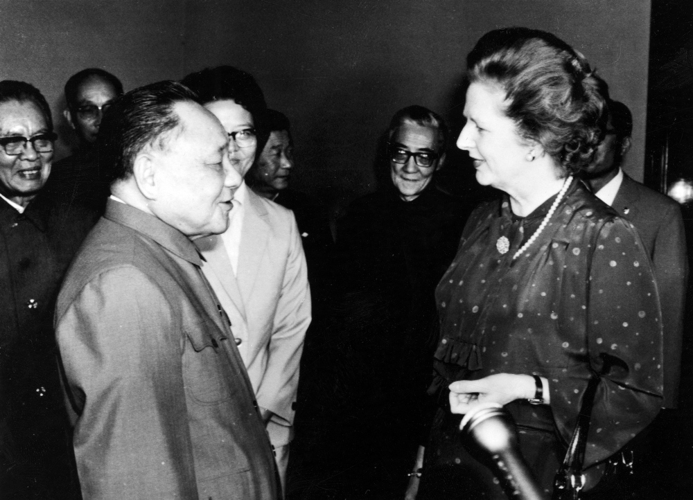 Description of . This is a Sept. 24, 1982 file photo of China's Chairman of the Communist Party Deng Xioping as he meets with Britains' Prime Minister Margaret Thatcher, in Beijing, China. (AP Photo/File)