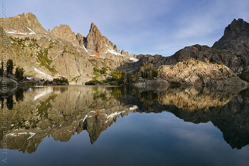 The Minarets reflecting in their namesake lake, Ansel Adams Wilderness, California, June 2014.