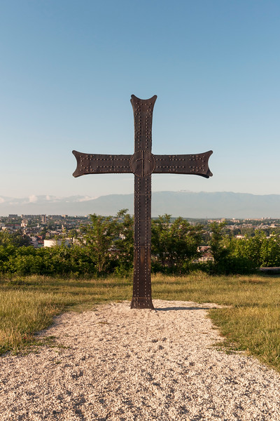 Metal Cross outside Bagrati Cathedral of Dormition, Kutaisi, Georgia