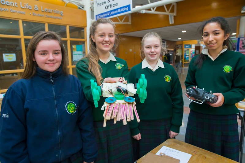 Pictured at WIT (Waterford Institute of Technology) at Engineers Week are Aoife Kelly, Sinead Kelly, Ella McLennon and Natasha McGrath from St. Marys Secondary School, New Ross. Picture: Patrick Browne