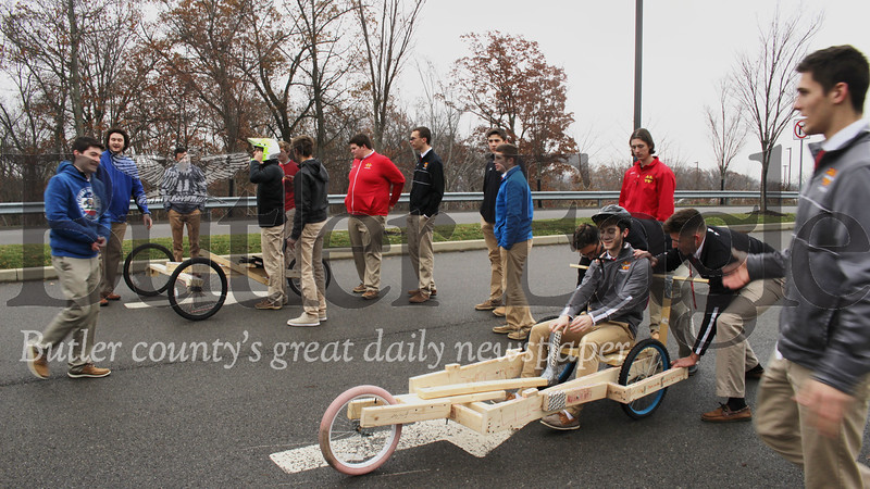 After months of study and hard work, students at North Catholic High School finally had a chance to put their creations head to head in the engineering class's annual gravity race.