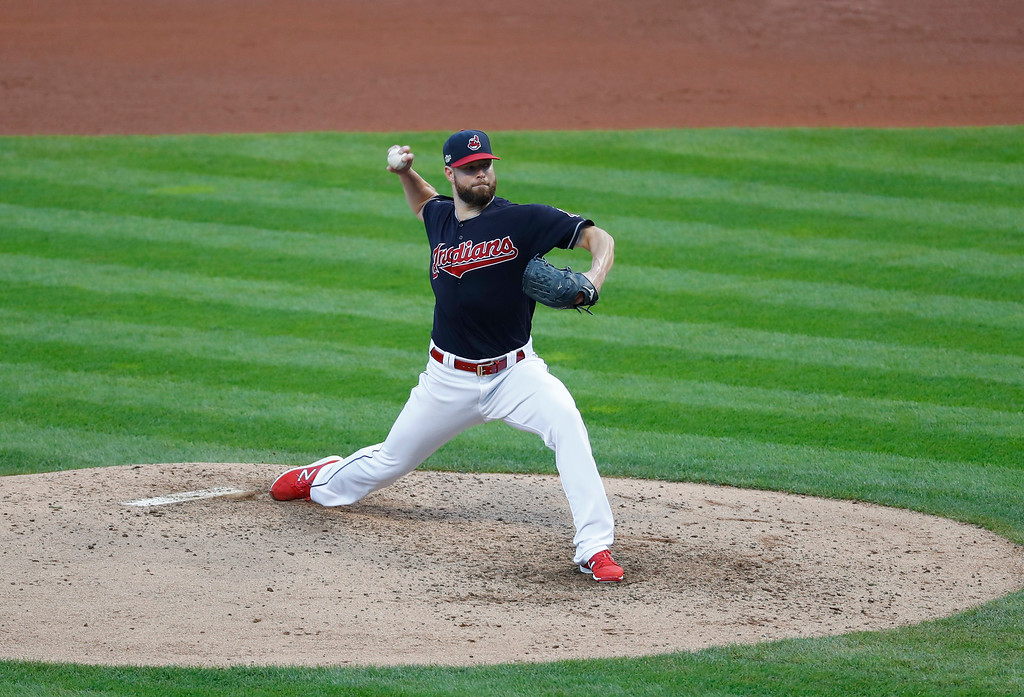 . Cleveland Indians pitcher Corey Kluber throws against the Boston Red Sox in the fifth inning during Game 2 of baseball\'s American League Division Series, Friday, Oct. 7, 2016, in Cleveland. (AP Photo/Paul Sancya)