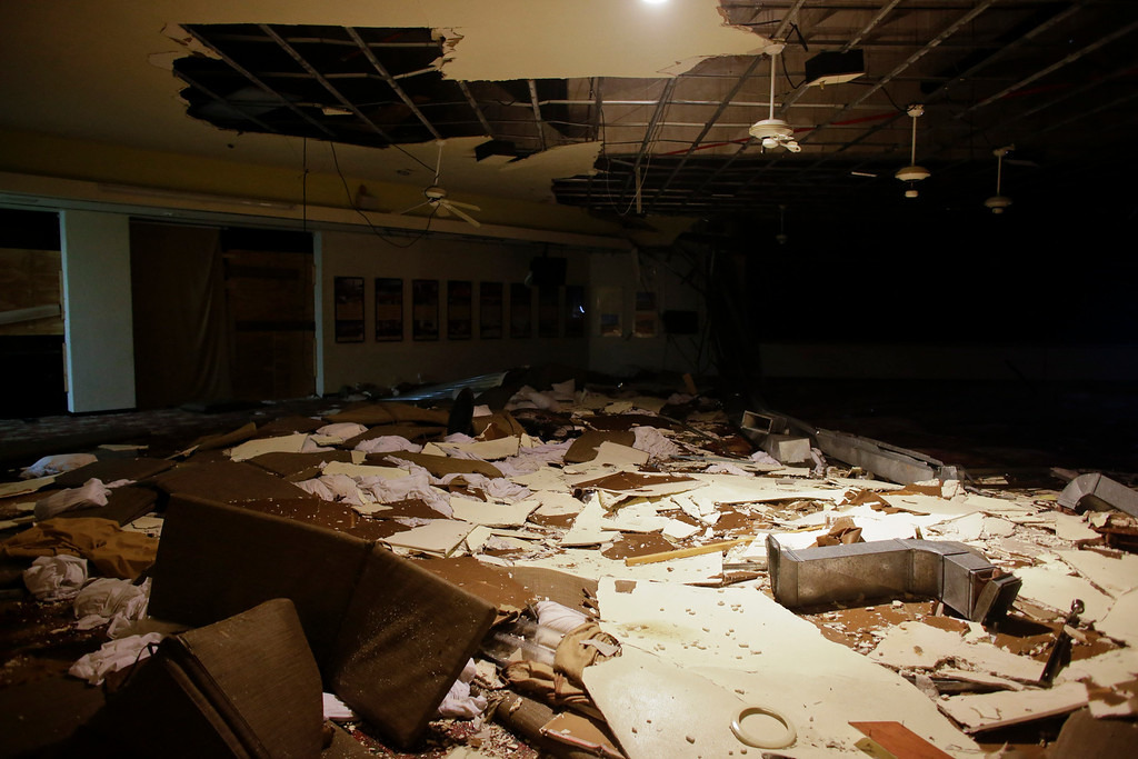 . The designated area for shelter at a resort lays partially destroyed by winds in Los Cabos, Mexico,  Monday, Sept. 15, 2014. Hurricane Odile raked the Baja California Peninsula with strong winds and heavy rains early Monday as locals and tourists in the resort area of Los Cabos began to emerge from shelters and assess the damage. (AP Photo/Victor R. Caivano)
