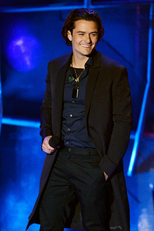 . Actor Orlando Bloom speaks onstage at the 2014 MTV Movie Awards at Nokia Theatre L.A. Live on April 13, 2014 in Los Angeles, California.  (Photo by Kevork Djansezian/Getty Images for MTV)