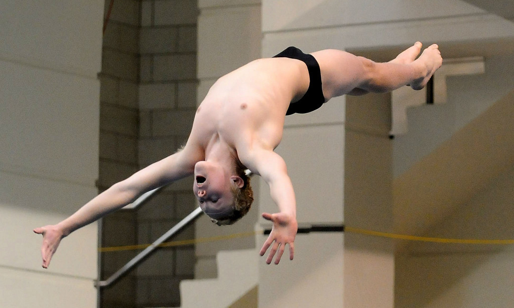 . Detroit Lakes\' Zane Feeman during the Diving competition. (Pioneer Press: Sherri LaRose-Chiglo)