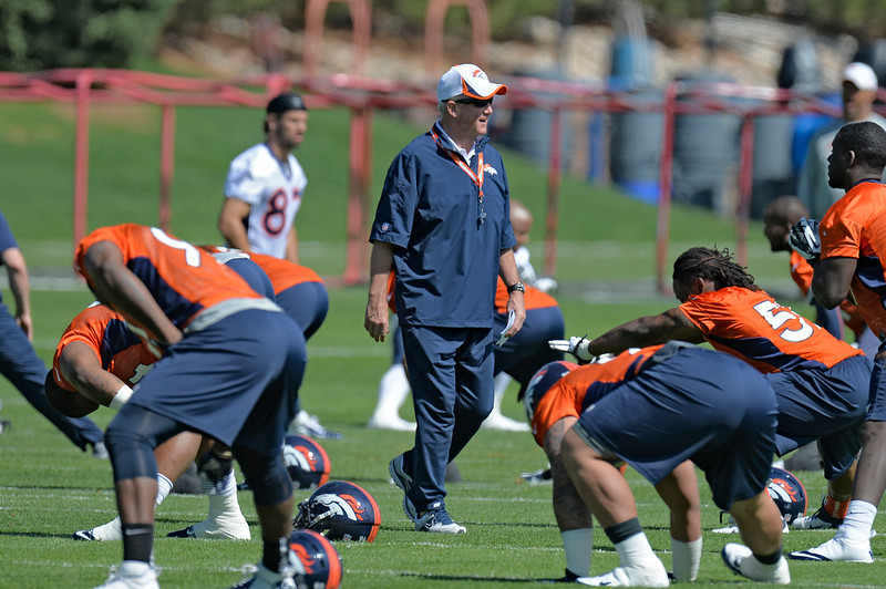 . John Fox head coach of the Denver Broncos looks on during the teams OTAs May 20, 2013 at Dove Valley. All offseason training activities (OTAs) are voluntary until the mandatory minicamp June 11-13. (Photo By John Leyba/The Denver Post)
