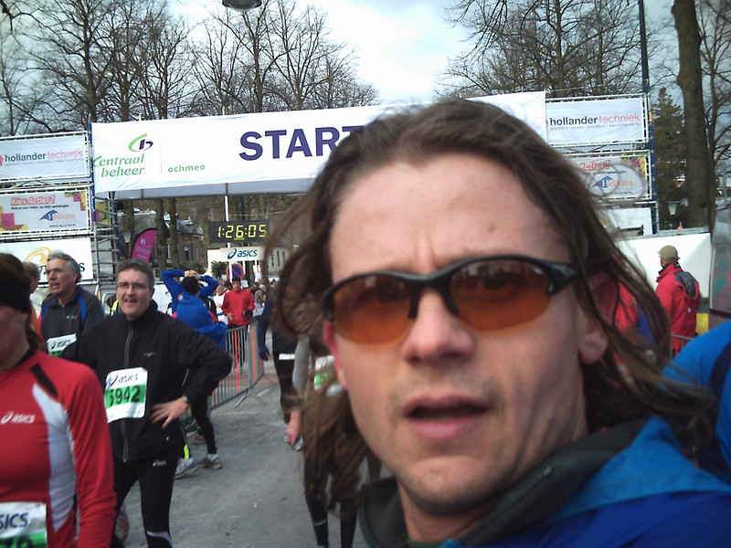 Here I am at the finish line. I know it looks like the start line.  I challenge you to figure out how this is possible.
