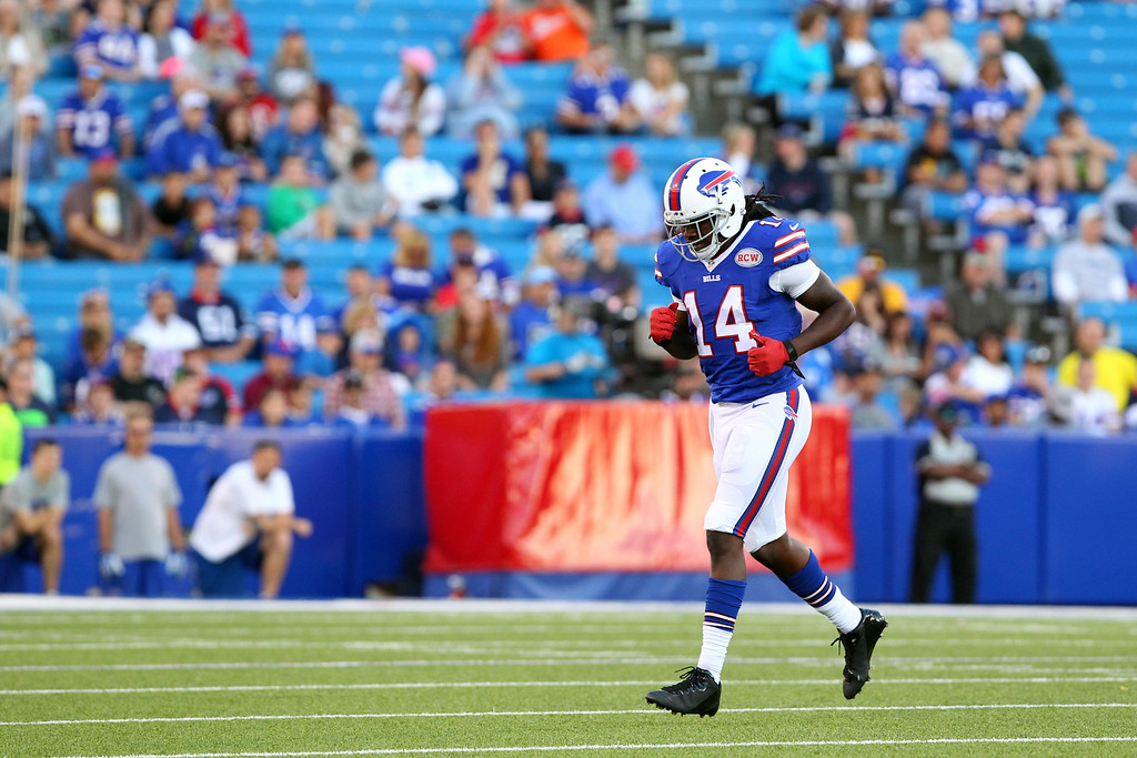 . Buffalo Bills wide receiver Sammy Watkins walks off the field after being hit by Detroit Lions outside linebacker Ashlee Palmer during the first half of a preseason NFL football game, Thursday, Aug. 28, 2014, in Orchard Park, N.Y. (AP Photo/Bill Wippert)