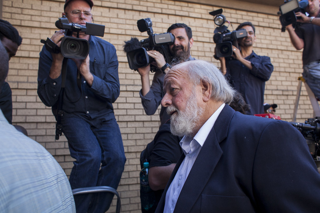 . Barry Steenkamp arrives at the North Gauteng High Court for the sentencing of Oscar Pistorius on October 21, 2014 in Pretoria, South Africa. Pistorius has been sentenced to the maximum term of five years jail after being found guilty of the culpable homicide of his girlfriend Reeva Steenkamp, whom he shot claiming he mistook her for an intruder. (Photo by Charlie Shoemaker/Getty Images)