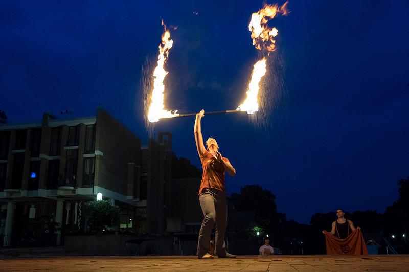 Fire dancer at Lake Anne Plaza