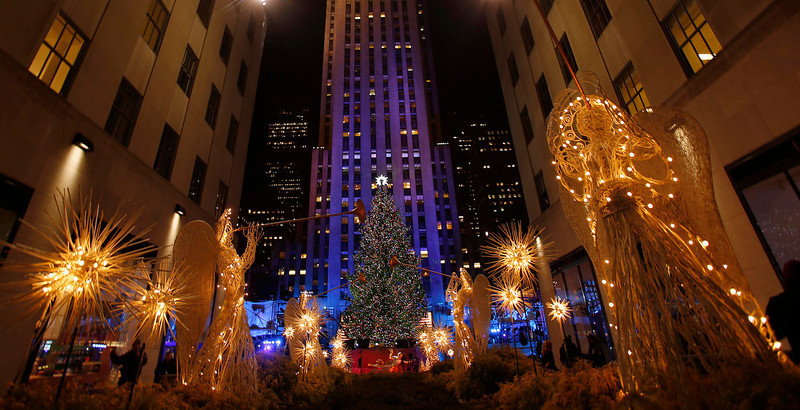 . The tree is seen during the 80th Annual Rockefeller Center Christmas Tree Lighting Ceremony in New York, November 28, 2012. REUTERS/Carlo Allegri