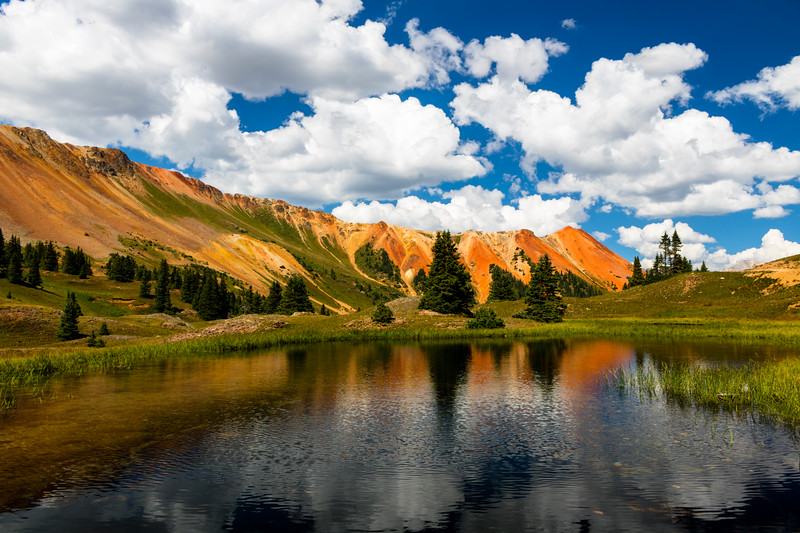 Reflection of Red Mountain in Grey Copper Gulch