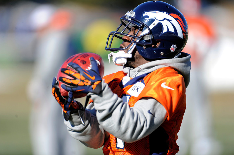 . Denver Broncos wide receiver Trindon Holliday (11) catches a pass during practice Thursday, December 20, 2012 at Dove Valley.  John Leyba, The Denver Post