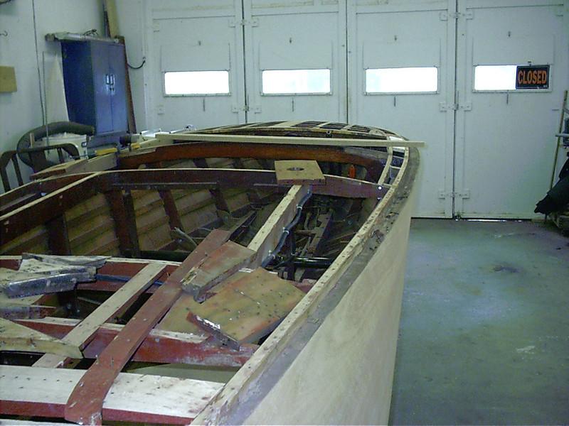 Old framing on starboard side of engine removed.