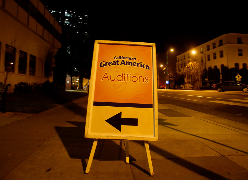 . A sign for auditions for Great America theme park for their various characters and dancers outside of Hall Todd Theatre at San Jose State University on Wednesday, Feb. 6, 2013.  (Nhat V. Meyer/Staff)