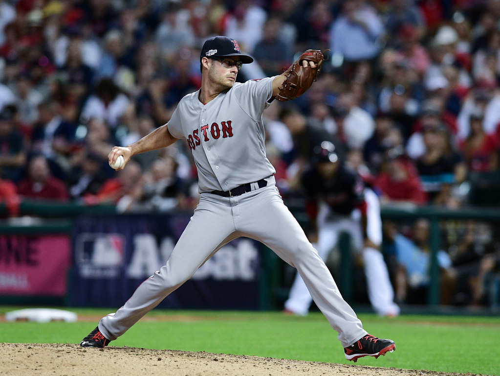 . Boston Red Sox relief pitcher Joe Kelly throws against the Cleveland Indians in the seventh inning during Game 2 of baseball\'s American League Division Series, Friday, Oct. 7, 2016, in Cleveland. (AP Photo/David Dermer)