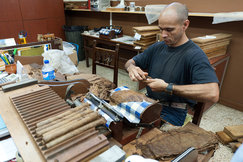 Roll of cigars in El Sitio Cigar Factory in La Palma, Spain