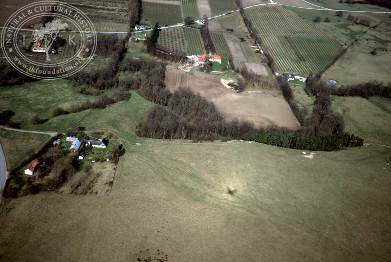 Verkaån, upstream - with plantations, buildings and prehistoric remains (4 May, 1989).   LH.0663