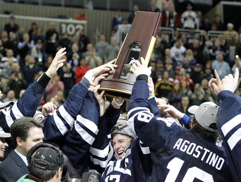 . PITTSBURGH, PA - APRIL 13:  The Yale Bulldogs celebrate after defeating the Quinnipiac Bobcats in the Men\'s Ice Hockey National Championship game at Consol Energy Center on April 13, 2013 in Pittsburgh, Pennsylvania.  (Photo by Justin K. Aller/Getty Images)