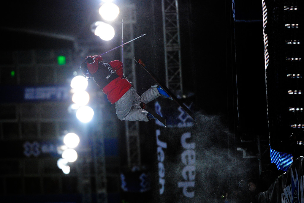 . Roz Groenewoud flies above the pipe at the women\'s ski superpipe final in Aspen at Winter X Games in Aspen, January 24, 2014. (Photo By Mahala Gaylord/The Denver Post)