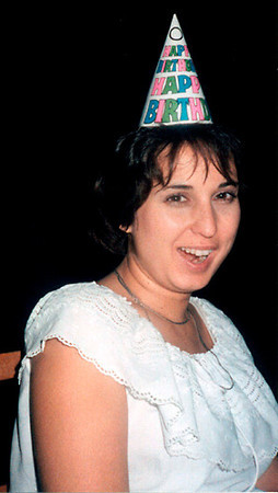 Marla in a party hat - 1986