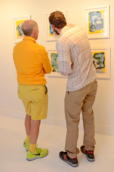 """EAST VILLAGE, NEW YORK - JUNE 24: Josh Jefferson """"Head First"""" opening at the TURN Gallery on June 24, 2015 in East Village, New York. (Photo by Lukas Maverick Greyson)"""