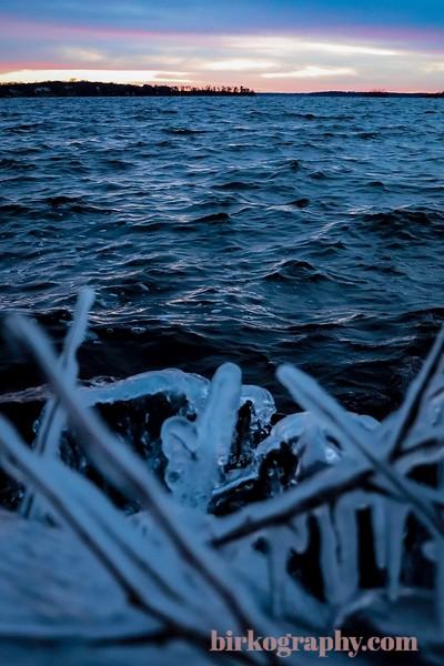Icy shores of Wayzata Bay in late November.  Lake Minnetonka, MN