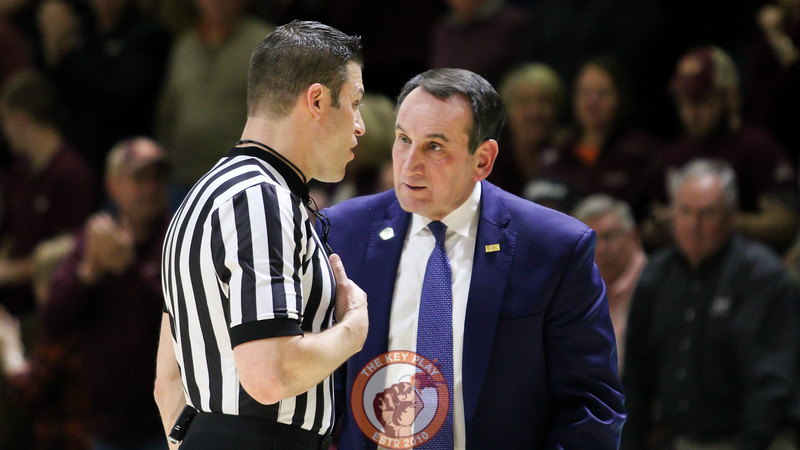 Duke head coach Mike Krzyzewki argues for a call on the opposite end of the floor. (Mark Umansky/TheKeyPlay.com)