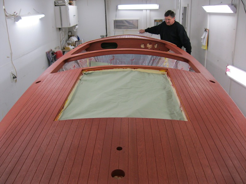 Rear view of deck stained.