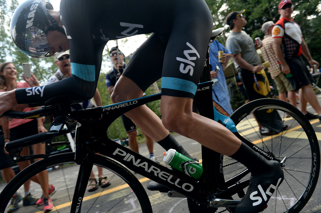 . Tour de France Champion Chris Froome of Sky Professional Cycling is climbing Vail pass during the 10-mile Individual Time Trial of 2013 USA Pro Challenge, August 23, 2013. (Photo by Hyoung Chang/The Denver Post)