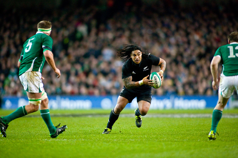 All Black Ma'a Nonu looks to evade the Irish O'Driscoll's, Brian and Mick,during the International rugby test with Ireland against the New Zealand All Blacks at Aviva Stadium Dublin. November 2010