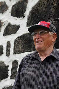 Luís Jorge Borges (Salão, Faial), born 1935, pictured outside the old mess hall near the Salão harbor. July 25, 2012.