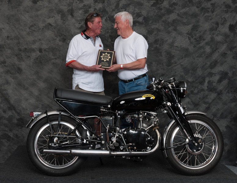 A.J. Cording, Winner Longest Distance Award- 1955 Vincent Comet