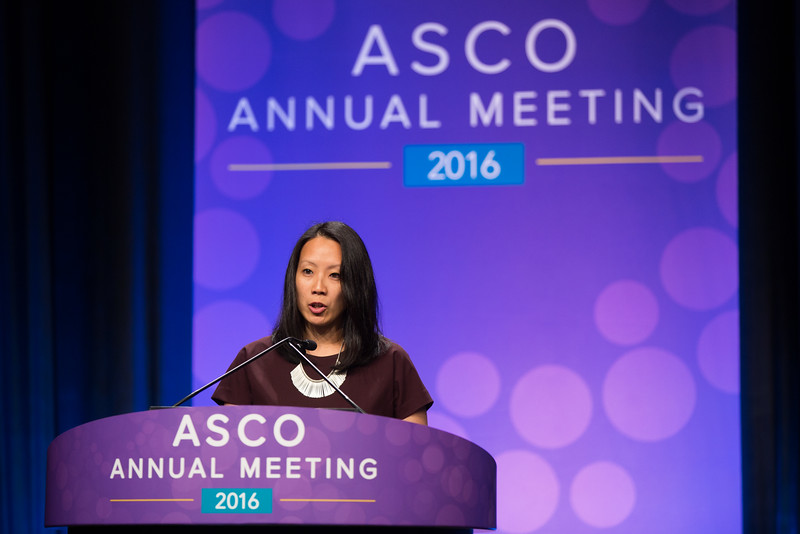 Kimmie Ng, MD, MPH, speaks during Gastrointestinal (Colorectal) Cancer Oral Abstract Session