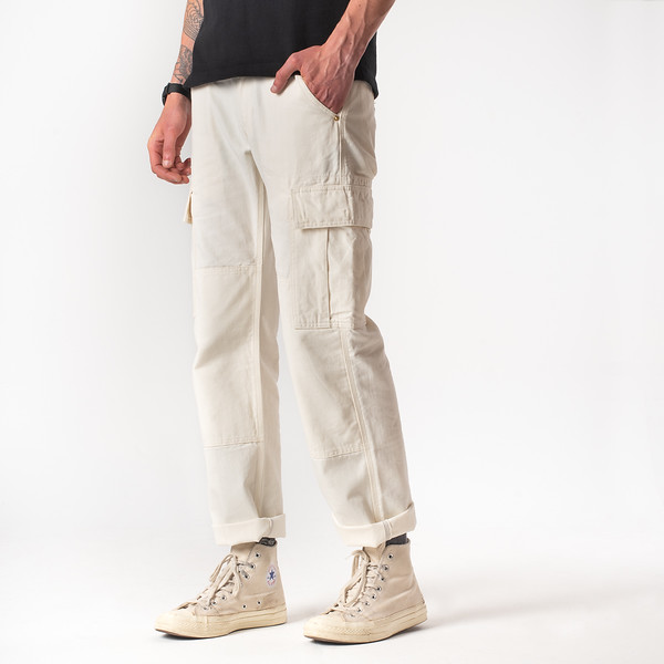 White 10.5oz Cotton Herringbone Cargo Pants--4.jpg