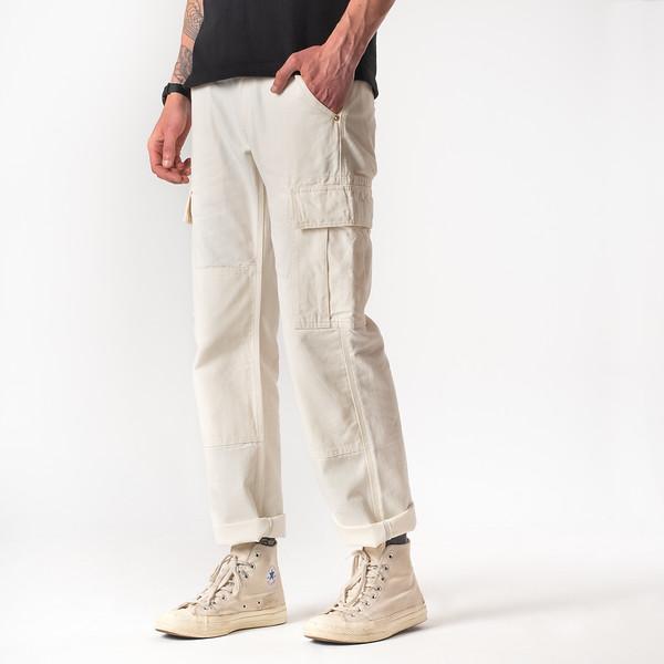 White 10.5oz Cotton Herringbone Cargo Pants--4.jpg