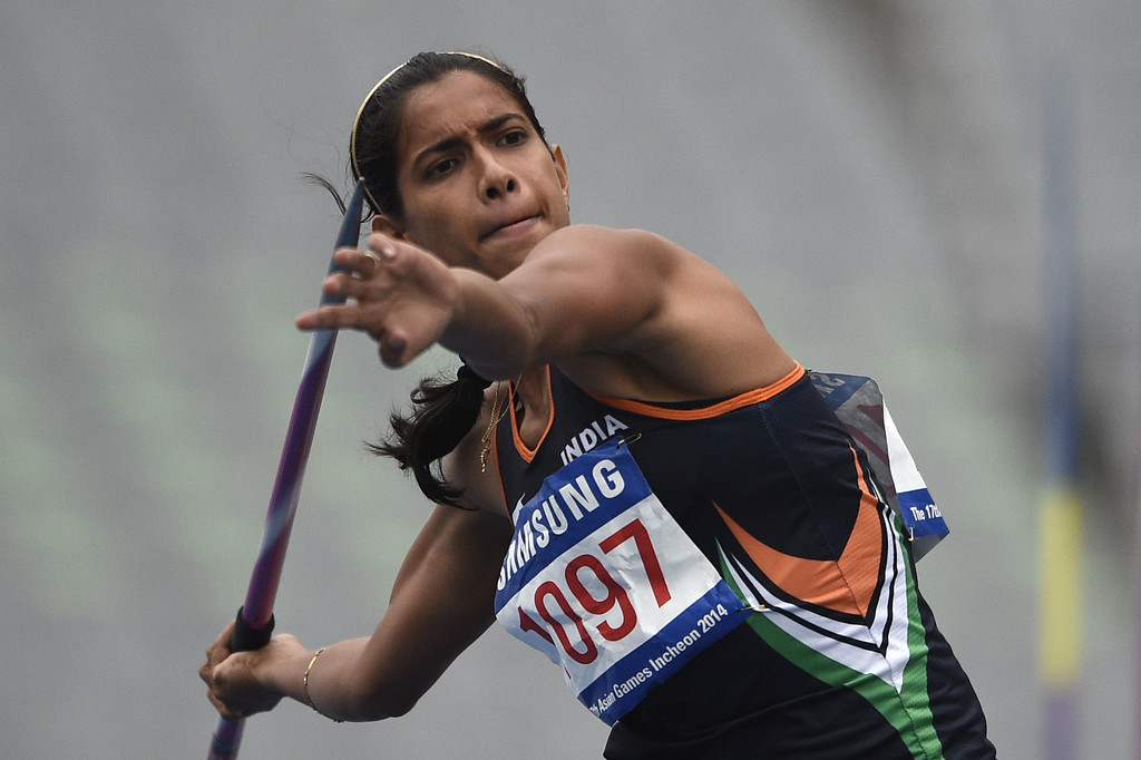 . India\'s Susmita Singha Roy competes in the women\'s heptathlon javelin throw athletics event during the 17th Asian Games at the Incheon Asiad Main Stadium in Incheon on September 29, 2014.  MARTIN BUREAU/AFP/Getty Images
