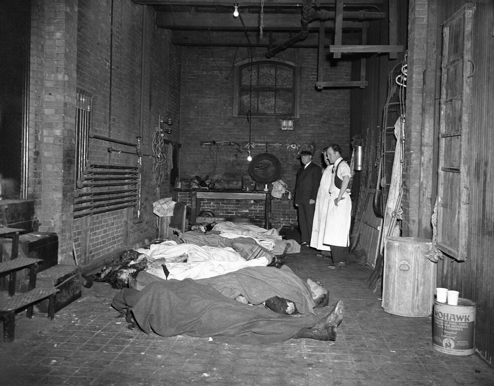 . Bodies of some of the scores of victims of the fire that swept the Cocoanut Grove Night Club in Boston on Nov. 28, lie in the North Grove Street Mortuary awaiting identification, Nov. 29, 1942. More than 400 persons perished. (AP Photo)