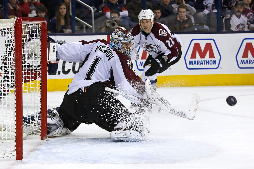. Semyon Varlamov #1 of the Colorado Avalanche makes a save during the second period against the Columbus Blue Jackets on March 3, 2013 at Nationwide Arena in Columbus, Ohio. (Photo by Kirk Irwin/Getty Images)